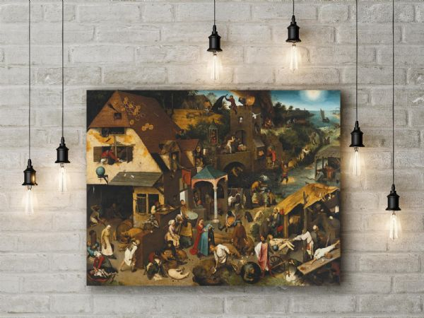 Pieter Bruegel the Elder: Netherlandish Proverbs. Fine Art Canvas.